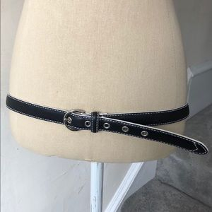 Cole Haan Pebbled Leather Stitch Accent Belt